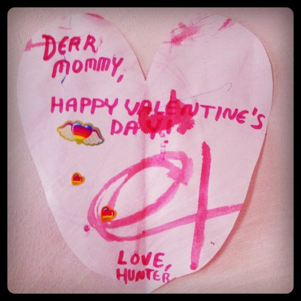 a sweet lovely home made valentine's day card made by my amazing toddler