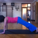 Prenatal Yoga Full Plank in early second trimester