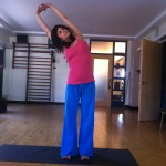 prenatal yoga standing yoga side stretch almost 19 weeks pregnant