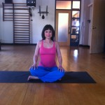Prenatal yoga easy seated posture almost 19 weeks pregnant