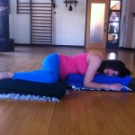 prenatal yoga relaxation pose on the side early second trimester