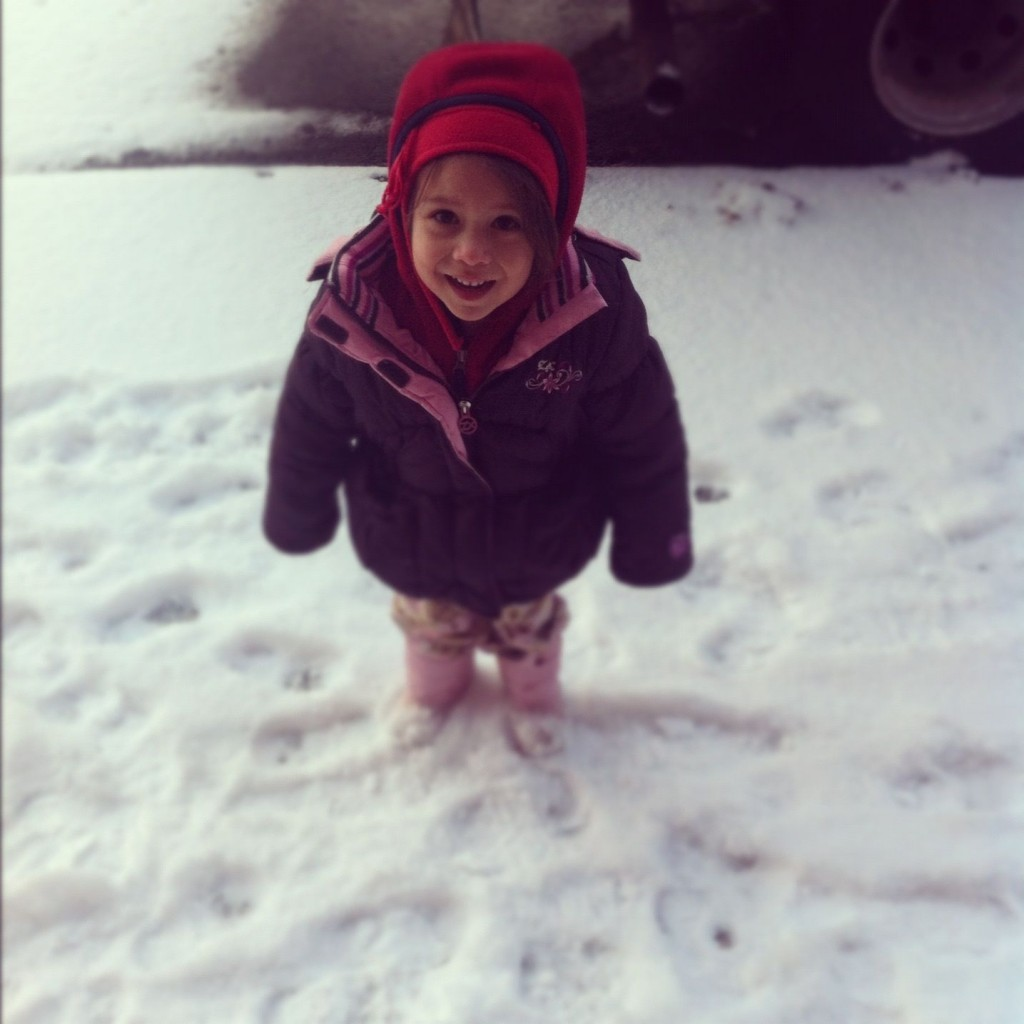 Hunter Rose in the snow at three years old